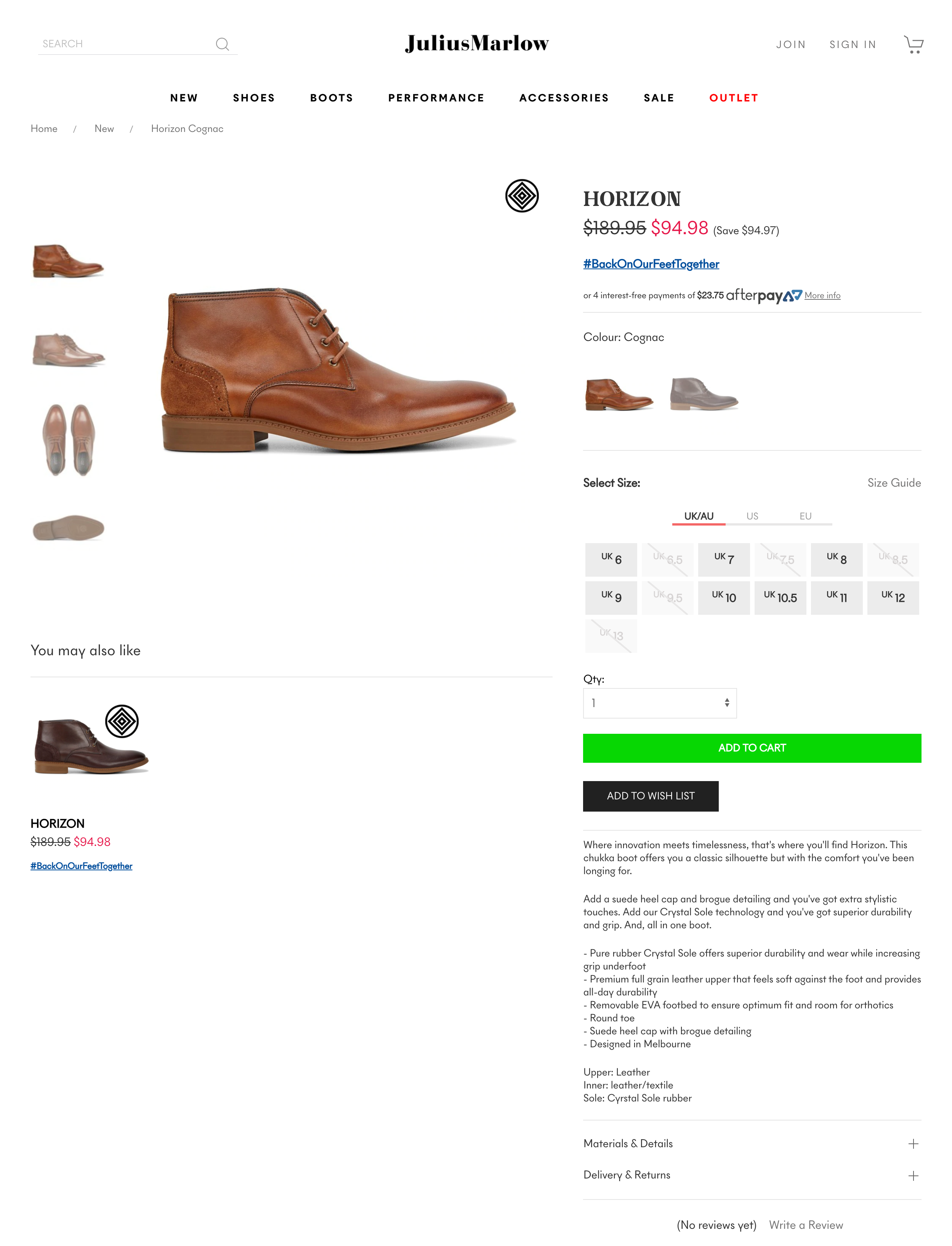 Julius Marlow ecommerce product copy